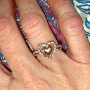 silver and gold ring w/diamonds